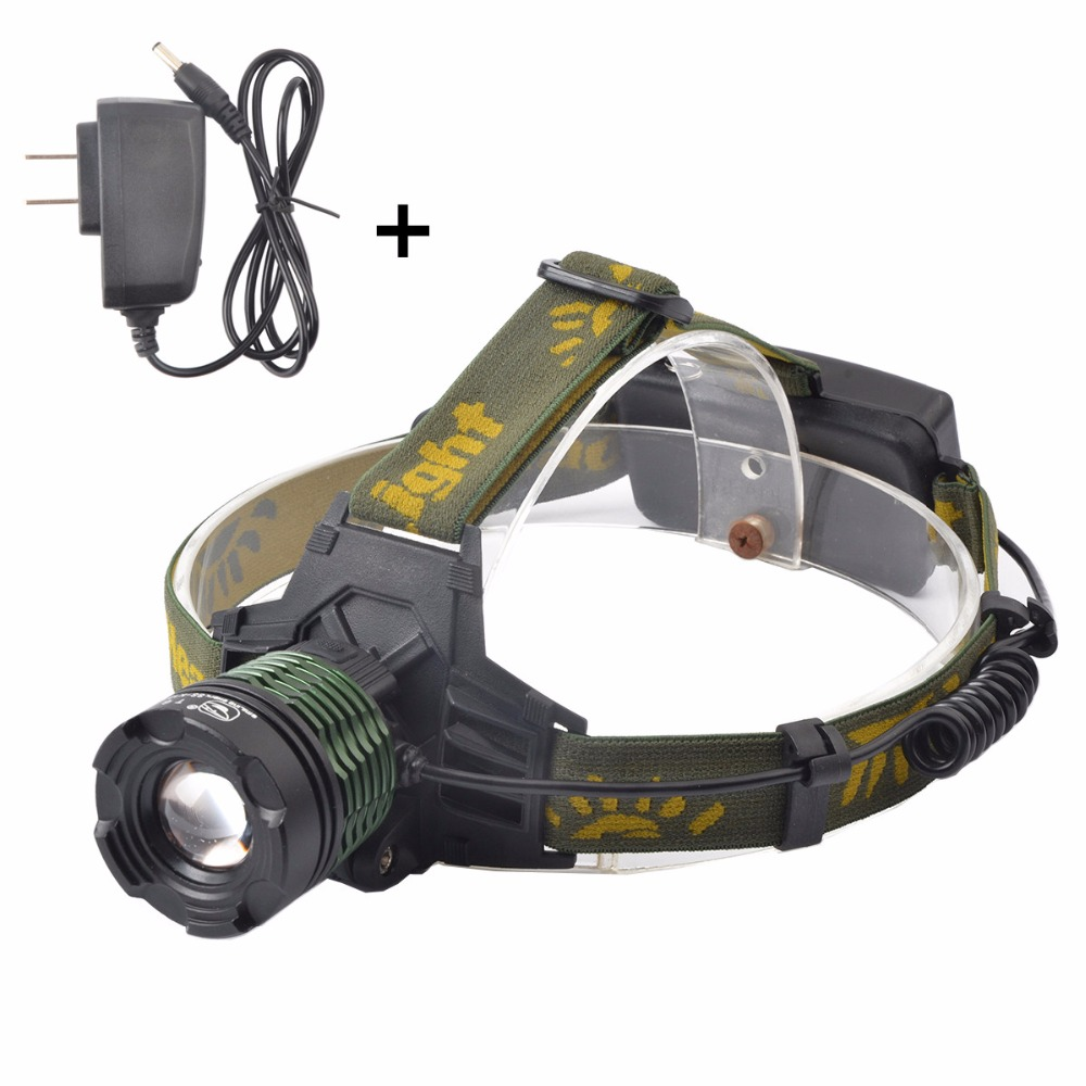 Brightest 2000 Lumens Adjustable Focus Zoomable CREE T6 LED Headlamp, 3 Modes Waterproof Headlight for Outdoor Sport