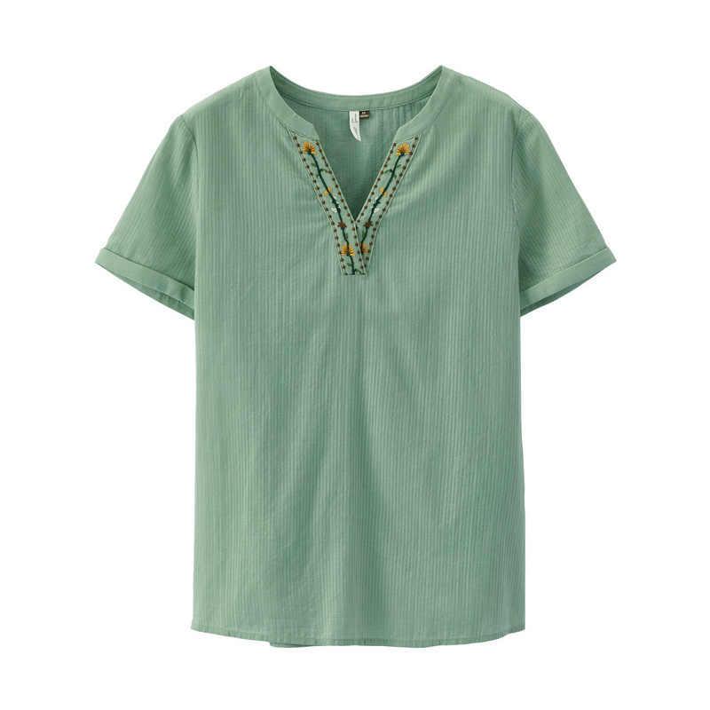 をインマン 2019 夏新到着綿 100% 刺繍 O ネック半袖快適な文学女性ブラウス