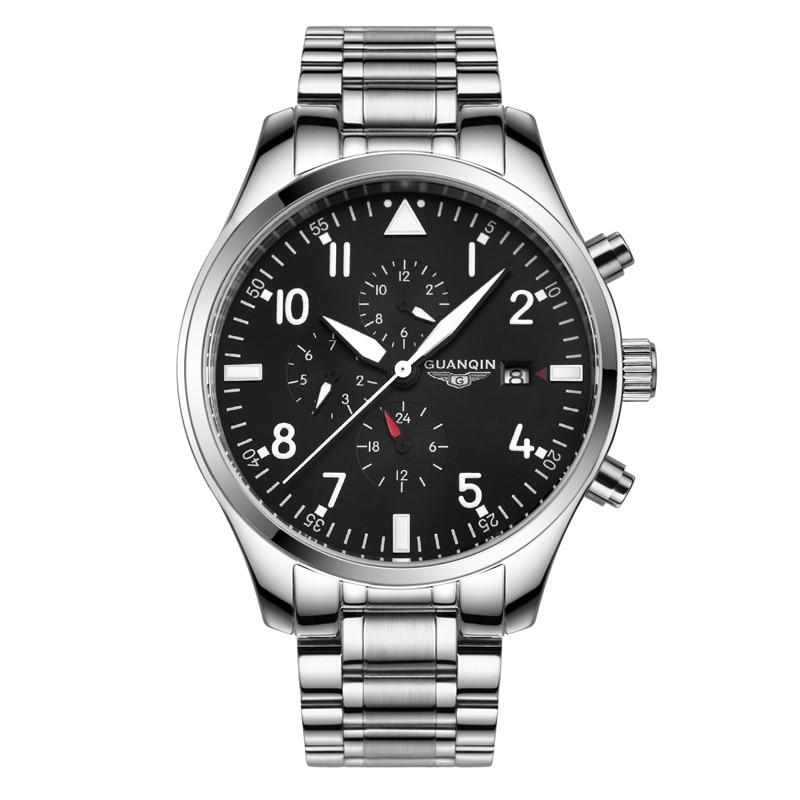 Montre pilote multifonction Top marque GUANQIN mode Sport montre automatique hommes calendrier semaine 24 heures montres mécaniques lumineuses