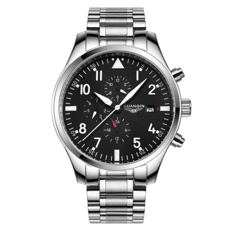 Multifunction Pilot Watch Top Brand GUANQIN Fashion Sport Automatic Watch Men Calendar Week 24Hours Luminous Mechanical watches