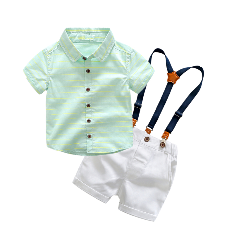 Kids clothes wedding and party clothing set short sleeve striped shirt with overalls fashion shorts boys clothes flutter sleeve twist front top and wide waist shorts set
