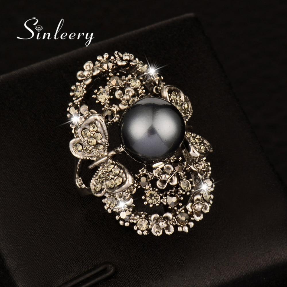 SINLEERY Vintage Big Gray Simulated Pearl Rings Ants