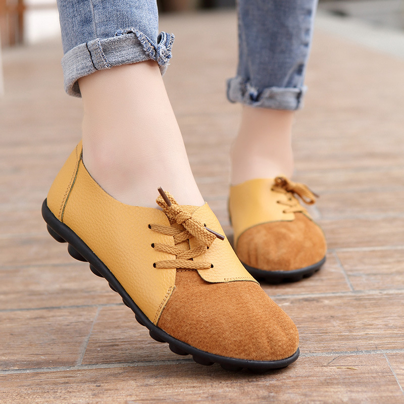Moccasins Flat-Shoes Spring Non-Slips Autumn Genuine-Leather Women Ladies New 35-44 Casual