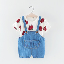 Childrens spring-autumn childrens suit, babys suit apple long-sleeved cowboy jeans two-piece