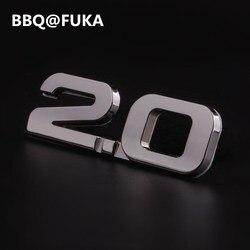 BBQ@FUKA Car Metal Silver 2.0 2.0T TSI Rear Trunk Emblem Badge Sticker Fit For vw Beetle CC Golf Jetta Nuevo Passat Car-Styling