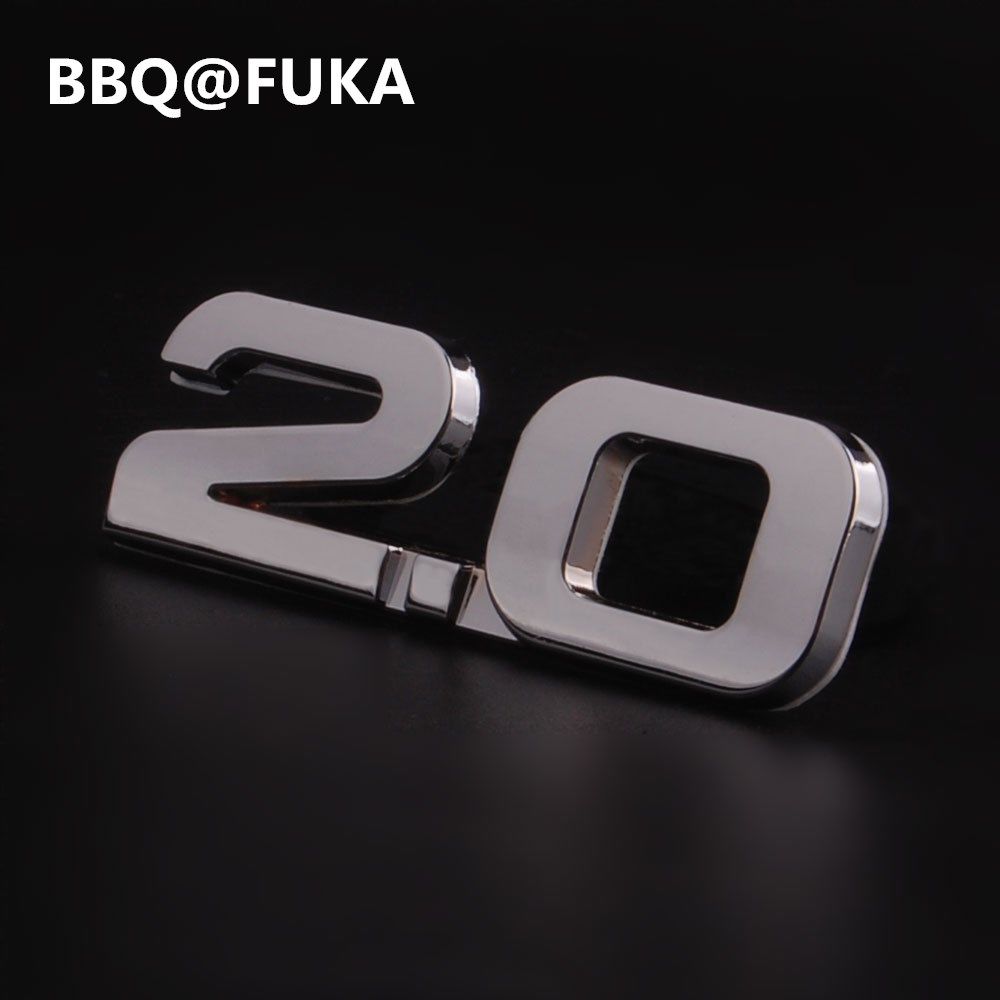 BBQ @ FUKA Car Metal Silver 2.0 2.0T TSI Rear Trunk Emblem Badge Sticker Fit para vw Beetle CC Golf Jetta Nuevo Passat Car-Styling