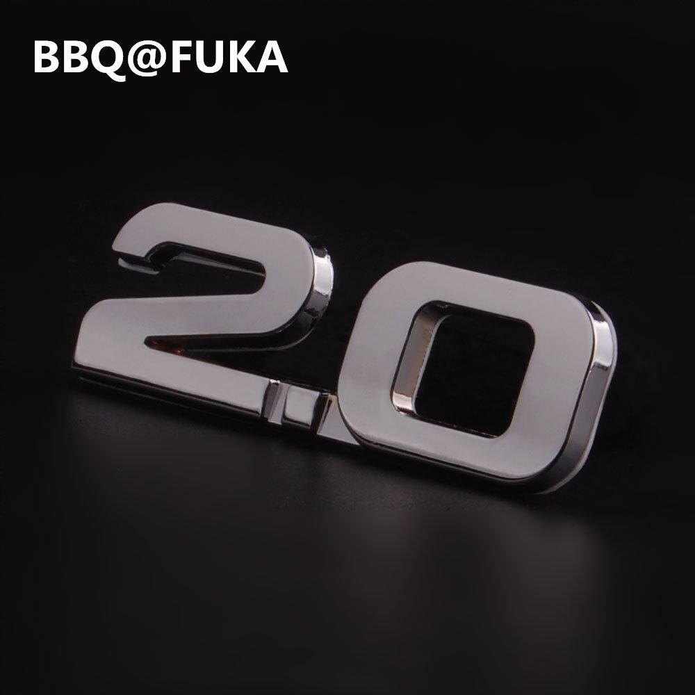 BBQ @ FUKA samochód metal srebrny 2.0 2.0T TSI naklejka z logo na bagażnik naklejana etykieta pasuje do vw beetle cc Golf Jetta Nuevo Passat samochód stylizacji