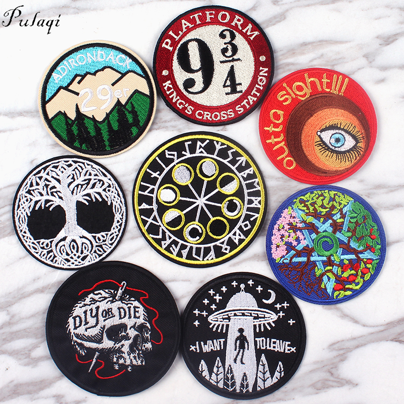 Pulaqi Round UFO Alien Eye Iron On Patches Sewing Embroidered Applique for Clothes Stickers Badge DIY Apparel Accessories