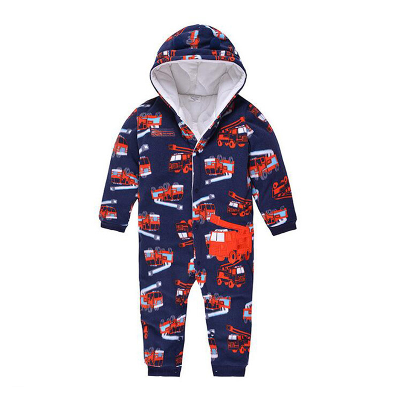 Autumn/Winter Baby Romper New Born Baby Thick Ropa Rugby PatternBaby Boys Long-Sleeve Fleece Jumpsuit Warm Clothes Little Kids