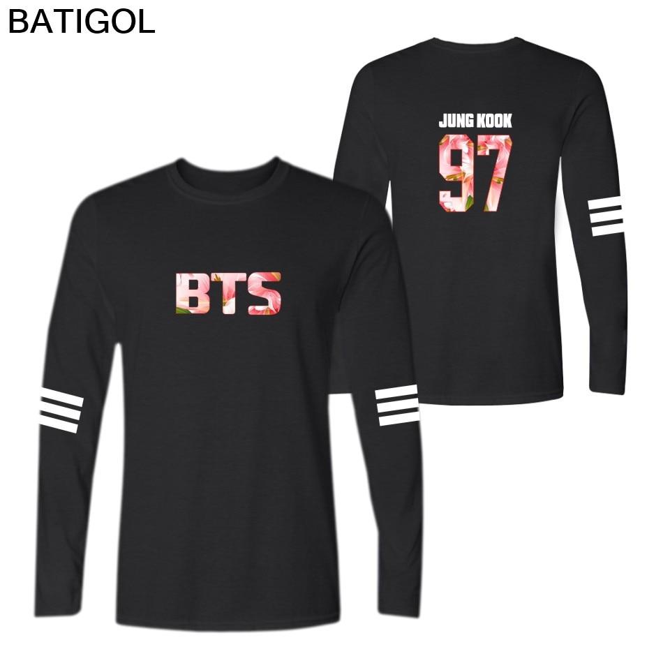 BATIGOL Bts Bangtan Boys Cherry Blossoms Cotton O-Neck Long Sleeve T-Shirt Men and Women Casual T Shirt Tops Tee