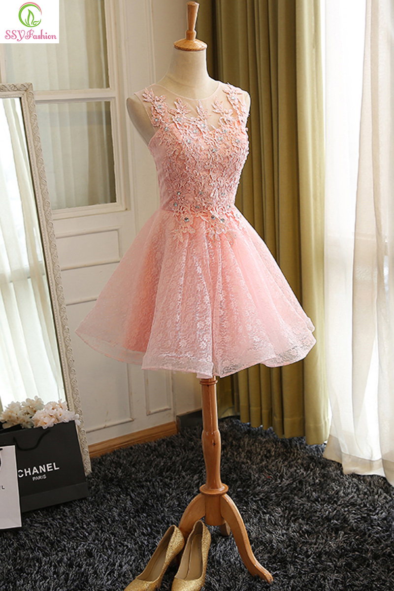 2c90612a971 Sweet Cocktail Dresses New SSYFashion Bride Married Banquet Pink Lace Short  Prom Dress Plus Size Party Formal Dresses-in Cocktail Dresses from Weddings  ...