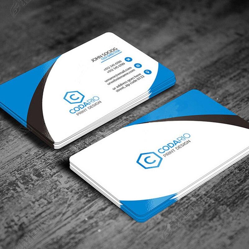 Design livre 200/500 folhas cartões de visita personalizados logotipo cartão de impressão de papel cartão de visita, ambos lado cartão de visita de papel