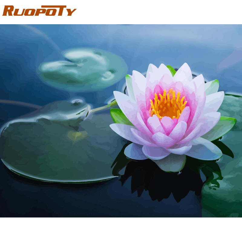 RUOPOTY Frame Lotus Flowers DIY Painting By Numbers Kit Modern Wall Art Picture Acrylic Paint By Numbers Calligraphy Painting