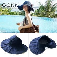 COKK Summer Hats For Women Girls Foldable Beach Sun Hat Ponytail Cap Wide Brim Portable Anti-Uv Outdoor Vacation Travel