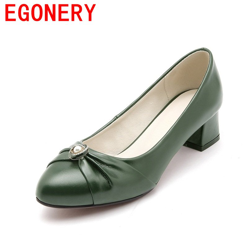 EGONERY pointed toe newest shallow comfortable footwear basic vrouw med heels shoes skid resistance convenient woman pumps shofoo newest women shoes med heels pointed toe pumps for woman dress