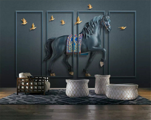 beibehang Custom size Three-dimensional classic 3d wallpaper embossed horse screen new Chinese background wall papers home decor