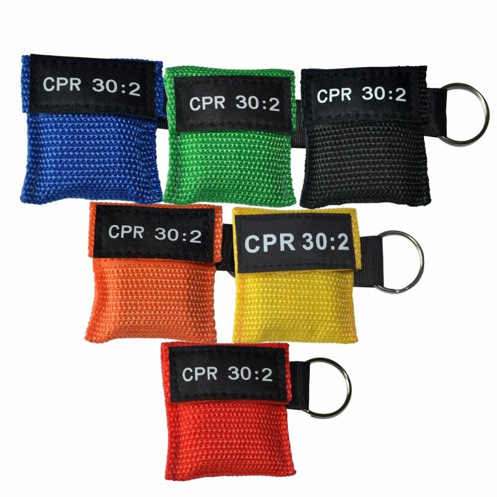 100 unids/pack CPR respirador máscara 30: 2 protector facial de rescate CPR con llavero para entrenamiento de primeros auxilios se pueden elegir 6 colores
