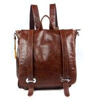 Brands Oil Wax Cow Genuine Leather Male Backpack Vintage Shoulder Rucksack Men School Bags Teenagers Boy Top Handle Bag