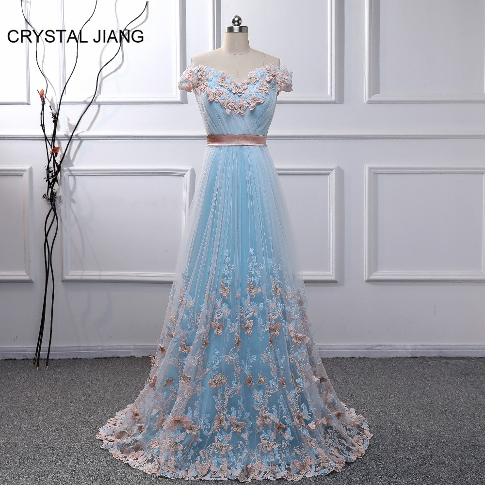 CRYSTAL JIANG 2018 Sweetheart Off Shoulder Butterfly Høj kvalitet - Særlige occasion kjoler - Foto 5
