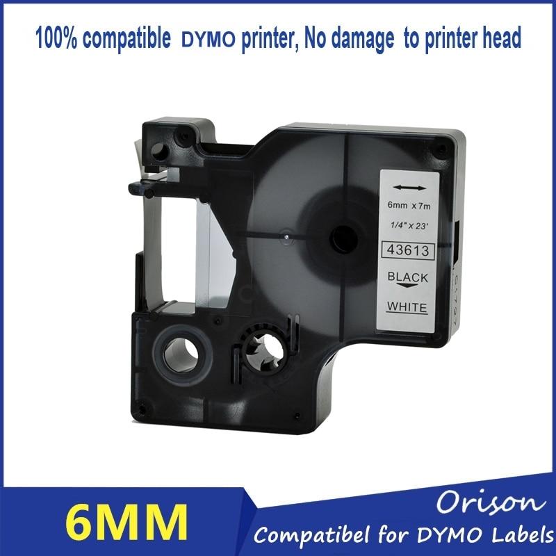 1Pc 43613 Compatible Dymo D1 Label Printer 6MM Black on White Label Tape for DYMO Label Maker
