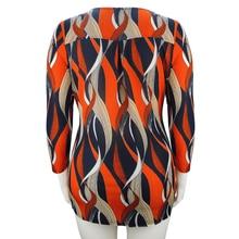 YTL Plus Size Print Tshirt Women Elegant Bohemian Orange O Neck Ladies Three Quarter Sleeve Loose Top Shirts Casual T-shirt H105