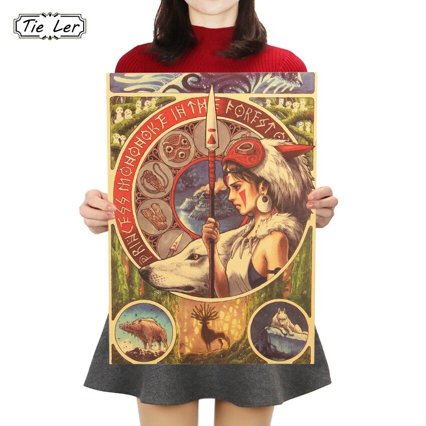 TIE LER Miyazaki Hayao Princess Mononoke Kraft Paper Poster Cartoon Movie Wall Sticker Bar Cafe Decorative Painting 50.5X35cm(China)
