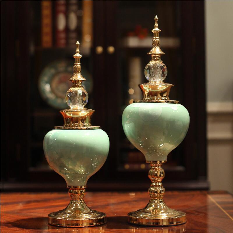 유럽 럭셔리 골드 세라믹 인형 홈 가구 장식 공예품 거실 데스크탑 크리스탈 장식품 결혼 선물 장식-에서피규어 & 미니어처부터 홈 & 가든 의  그룹 1