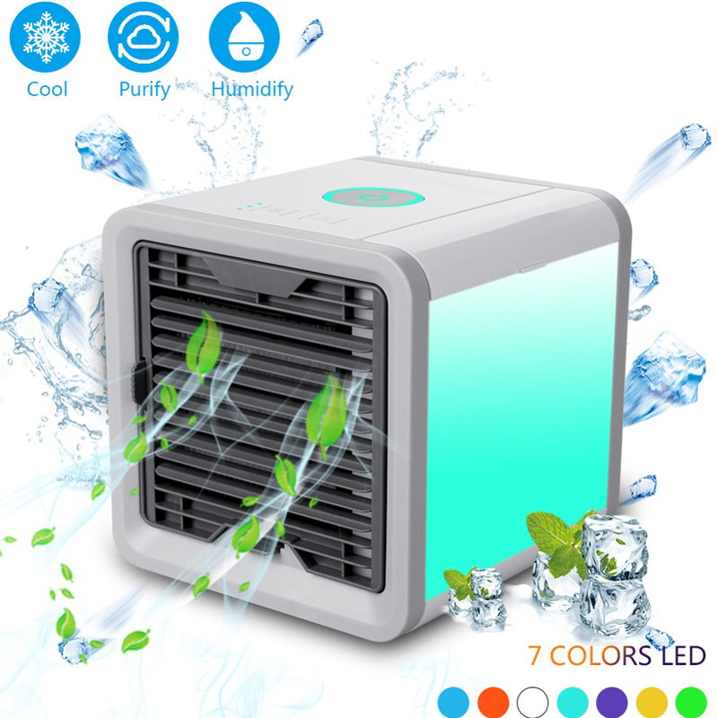 Mini USB Portable Air Conditioner Conditioning Humidifier Purifier 7 Colors Light Desktop Air Cooler Cooling Fan For Home Office(China)