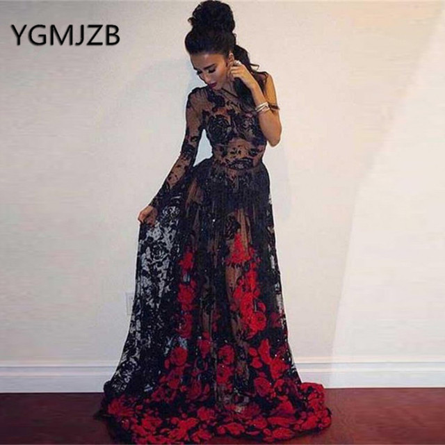 11da5f60c63 Sexy Transparent Black Prom Dresses 2019 A-Line Long Sleeve One Shoulder  Red Applique Lace Evening Gown Women Formal Party Dress