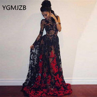 Sexy Transparent Black Prom Dresses 2019 A Line Long Sleeve One Shoulder Red Applique Lace Evening Gown Women Formal Party Dress