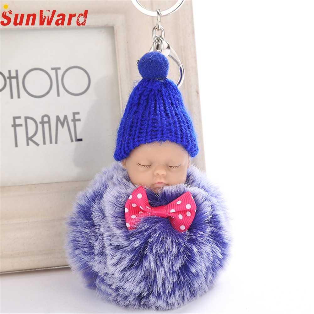 OTOKY ขายร้อน 1PC 8 ซม.น่ารักพวงกุญแจจี้ผู้หญิงแหวน Pompoms พวงกุญแจสำหรับของขวัญ sleeping Baby พวงกุญแจตุ๊กตา