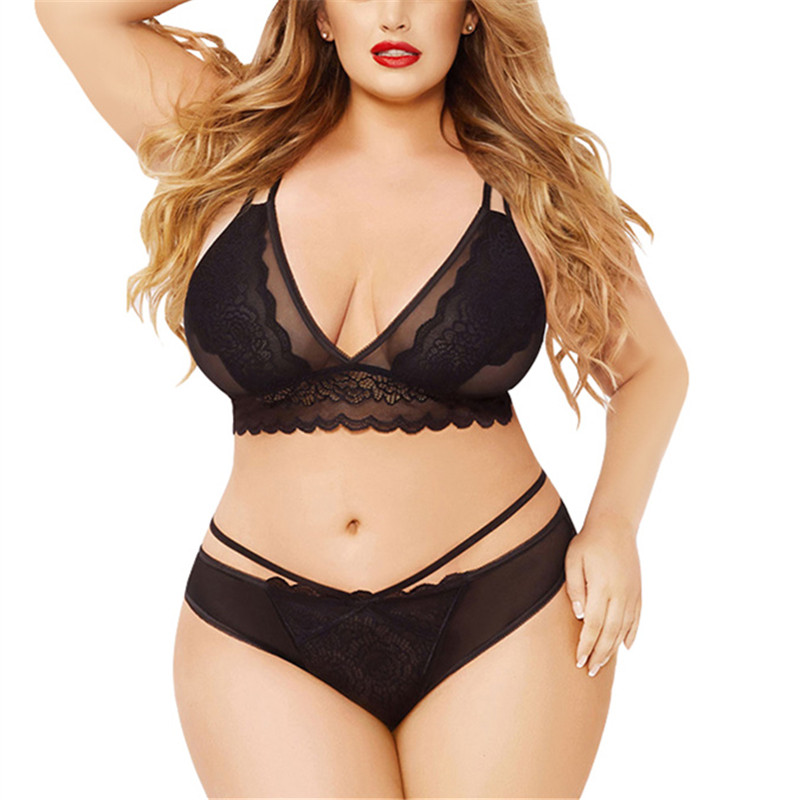 3XL/4XL/5XL Plus Size Sexy Lingerie   Set   Embroidery Lace Transparent   Bra   + Sexy Seamless Panties Women's Underwear Female   Bra     Set