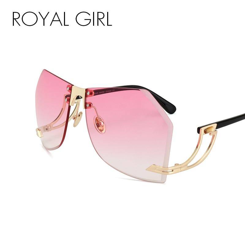 ROYAL GIRL Oversize Sonnenbrille Frauen Randlose Markendesigner Elegante Dame Weibliche Optik Klare Linse Sonnenbrille Gradienten ss143