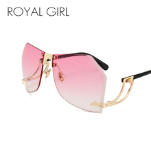 цены Royal Girl Oversized Sunglasses Women Brand Designer Elegant Lady Female Optics Clear lens Rimlesss ss143