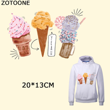 ZOTOONE Colorful Ice Cream Patch Heat Transfer Applique Personality Patches Iron on Stickers for Clothes T-shirt Decors