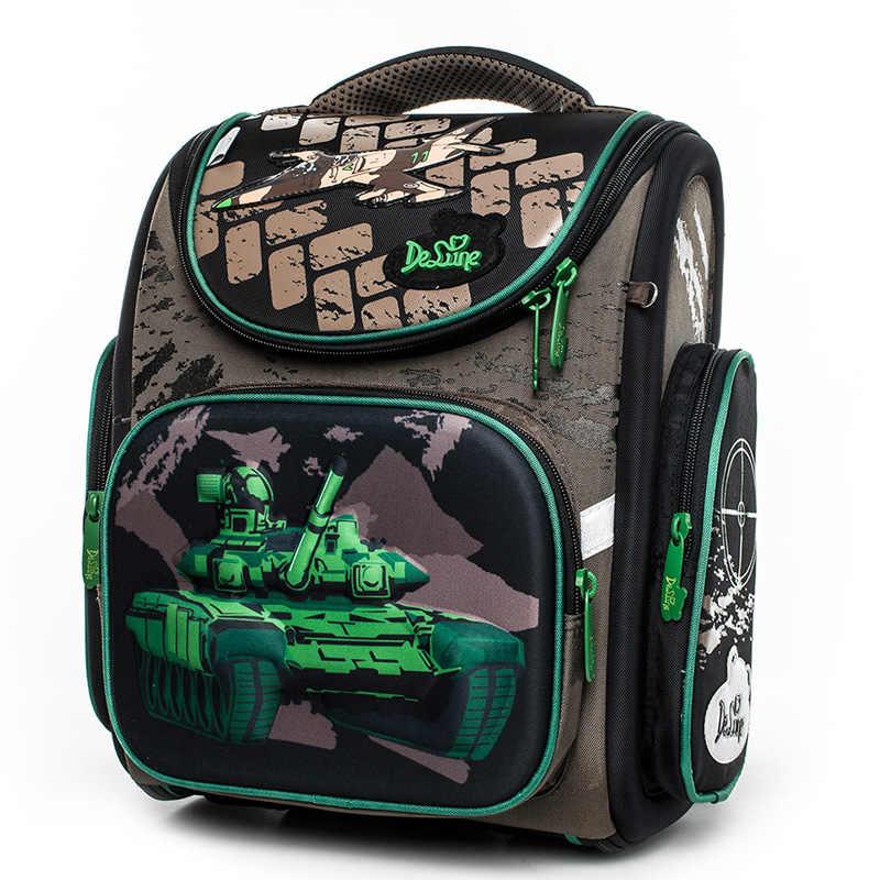 aa3d07a620 Delune 2018 Tank Pattern School Backpacks For Boys School Bags Cartoon  Children s Orthopedic Backpack Mochila Infantil