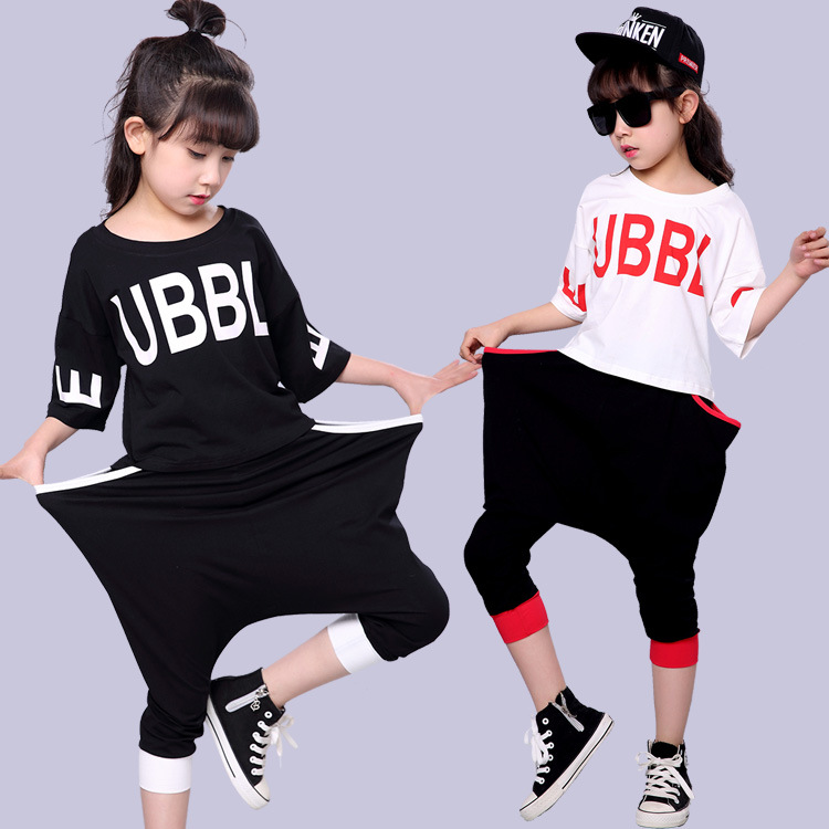 2017 Girls Sports Suit Children Clothing Sets Summer Bat Short Sleeve Shirt+Harem Pants Kids Girl Clothes Suits Hip Hop 2pcs/set