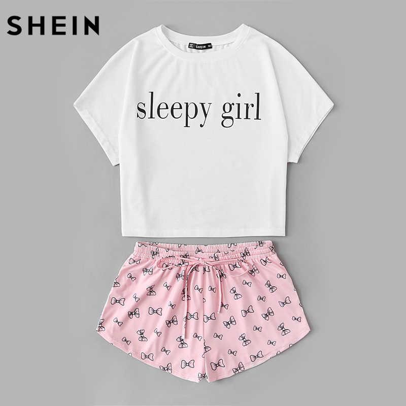 ... Шеин летний комплект из двух предметов пижамы многоцветный короткий  рукав графический Письмо печати Топ и шнурок ... 357e1ac22d1f2