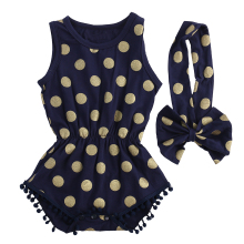 Baby Girl Gold Dots Clothes  Romper Jumpsuit Bow Head Band Outfits Set kids rompers