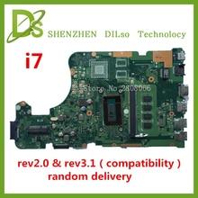 KEFU X555LD Für ASUS X555LD X555LA laptop motherboard X555LD rev2.0 & rev3.1 integrierte i7 cpu onboard motherboard 100% getestet