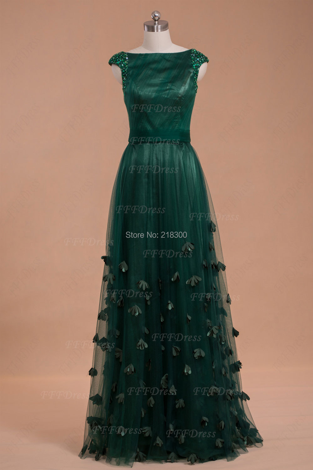 Modest Boat Neck Forest Green Prom Dresses 2014 Beaded Pleated With