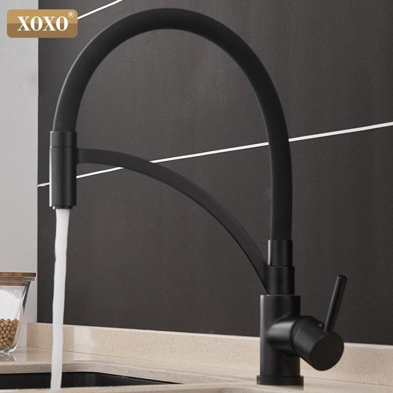 XOXO robinet de cuisine tirer vers le bas froid et chaud noir Chrome cuisine robinet évier pont monté Torneira Cozinha mélangeur robinets d'eau 1303