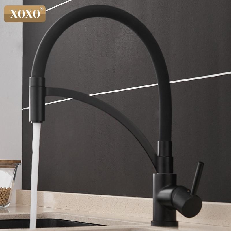 Xoxo torneira da cozinha pull down frio e quente preto chrome torneira da cozinha pia deck montado misturador de água torneiras 1303