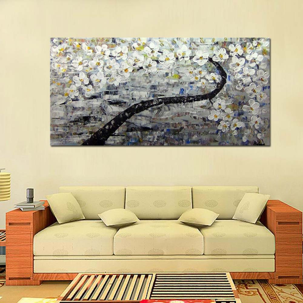 Hand Painted Modern Abstract Blooming White Flower Tree Oil Painting ...