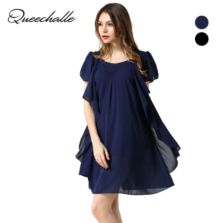 Queechalle mornarsko šifonska obleka poletje 2019 o vratu metulj rokavi ohlapne obleke L XL XXL XXXL 4XL 5XL Plus velikost ženska oblačila