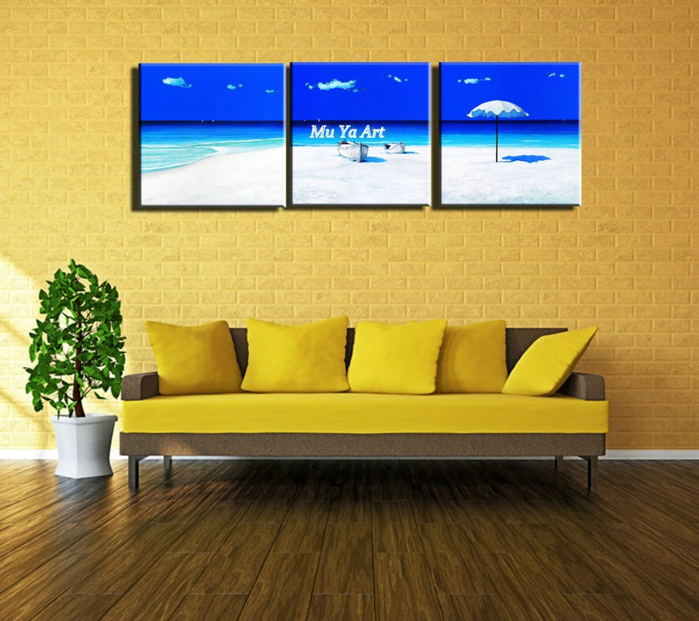 3 piece modern blue seascape canvas prints Abstract beach wall art ...