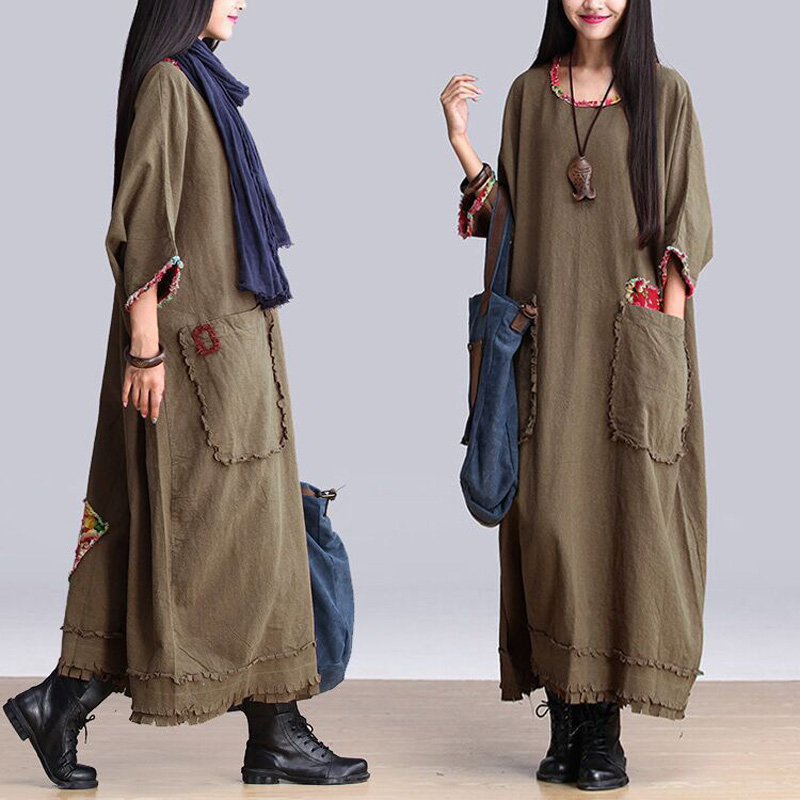 52493991dd Detail Feedback Questions about Vintage Tops Kaftan Women s Plus Size Loose  Long Sleeve Dresses A Line Tassel Maxi Dress Army Green Cotton Linen Dress  on ...