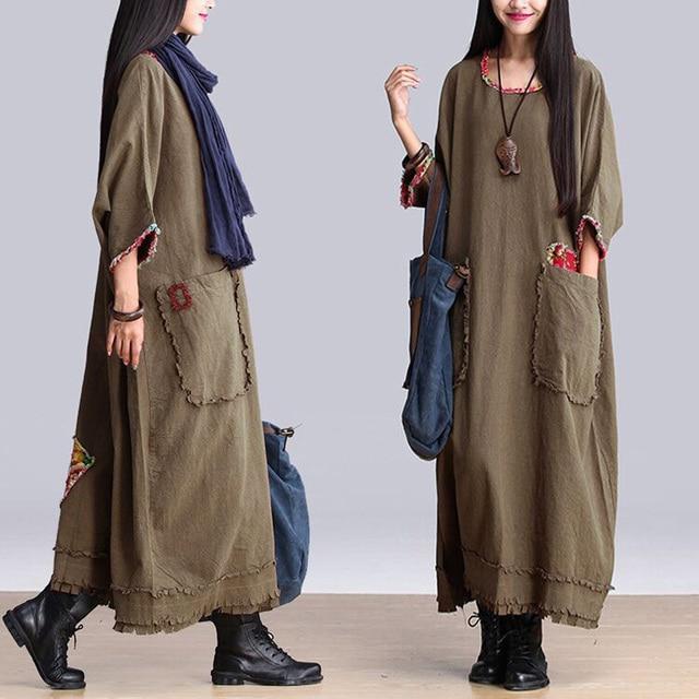 f2983cc9400 Vintage Tops Kaftan Women s Plus Size Loose Long Sleeve Dresses A-Line  Tassel Maxi Dress Army Green Cotton Linen Dress