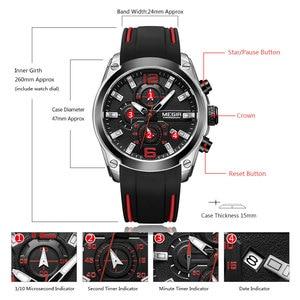 Image 5 - Megir herren Chronograph Analog Quarz Uhren Mode Rubber Strap Sport Armbanduhr mit Leucht Hände für Jungen 2063GS BK 1
