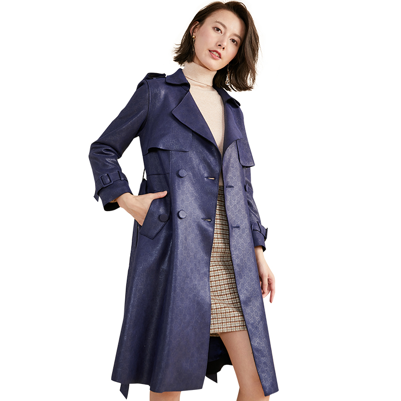 Fashion Trend   Trench   Coat For Women Classic Double-breasted Pattern Long Coats 2019 New Spring Chic Female Windbreaker With Belt